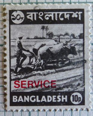 Bangladesh stamp - ploughing with oxen
