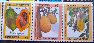 Bangladesh stamp - pawpaw, Carica papaya; jackfruit, Artocarpus heterophyllus; star fruit, Averrhoa carambola
