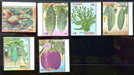 Bangladesh stamps - squash, Cucurbita maxima; bitter melon, Momordica charantia; edible fern, Diplazium esculentum; potol or pointed gourd, Trichosanthes dioica; gourd, Lagenaria siceraria; brinjal or eggplant, Solanum melongena