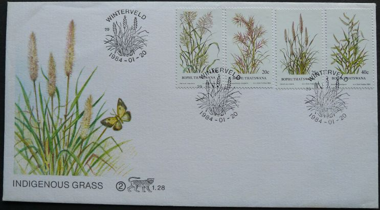 Bophuthatswana, Native grasses, First day cover, artist: Dick Findlay, 1984
