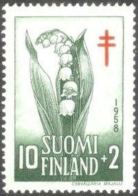Finland, national flower, Lily of the Valley, Convallaria majalis - 1958