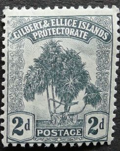 2d stamp, Gilbert & Ellice Islands - now Kiribati & Tuvalu