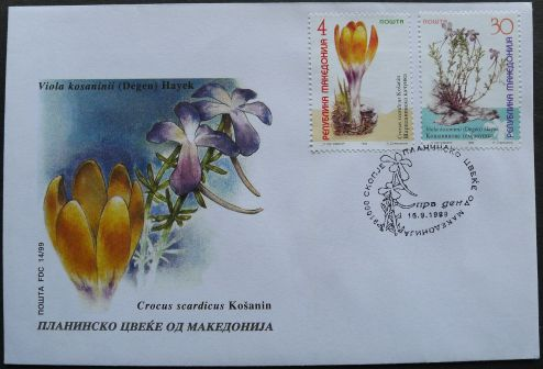 Macedonia, threatened species: Crocus scardicus, Viola kosaninii, first day cover, 1999