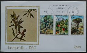 Spain, Myrica faya, Ilex canariensis, Dracaena draco, first day cover, 1973