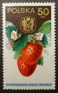 Polish stamp: strawberry, Adam & Eve & apple tree: XIXth International Horticultural Congress, Warsaw, 11-18 September 1974