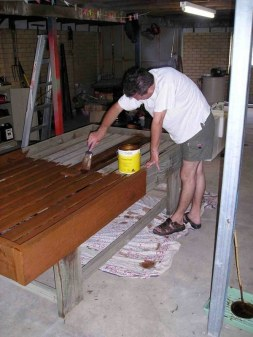 Treating salvaged nursery table with 'Cooee' certified organic timber preservative