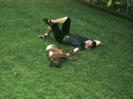 George's first lie down on his lawn after his operation. He'd had a leg amputated and was feeling pretty rough. March '05