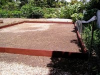 The border is made from recycled sleepers treated with organic timber preservative