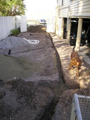 That connected to the herringbone drainage laid beside the house. This area will be the nursery.