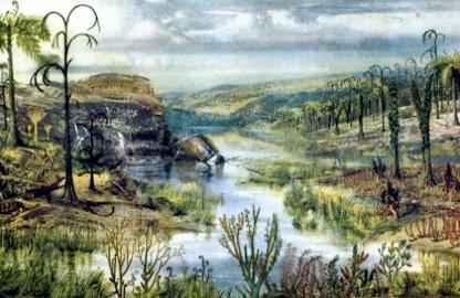 artist's impression of classical Carboniferous lungfish habitat