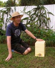Jerry with his new native stingless bee hive