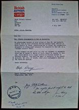Correspondence from British Airways cargo, 6.7.1982