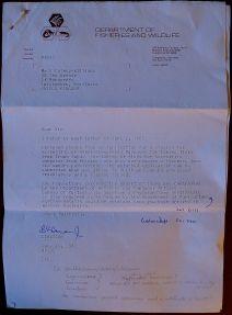 Department Fisheries & Wildlife, Western Australia, 14.6.1982