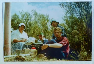 First field trip to the Charles Gardener Reserve. Left to Right, Mary Smith, Dave Bell, Basil Smith and me, 1982