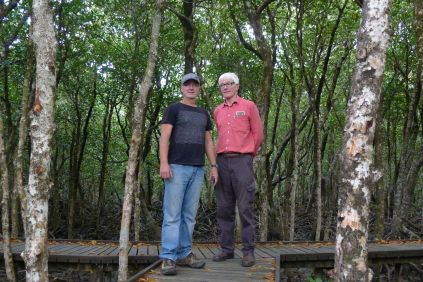 Mick Fanning (vision) & Scott Taylor (sound) of ABC TV lurking amongst Ceriops australis, Cairns