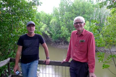 Mick Fanning (vision) & Scott Taylor (sound) of ABC TV amongst mangroves, Cairns