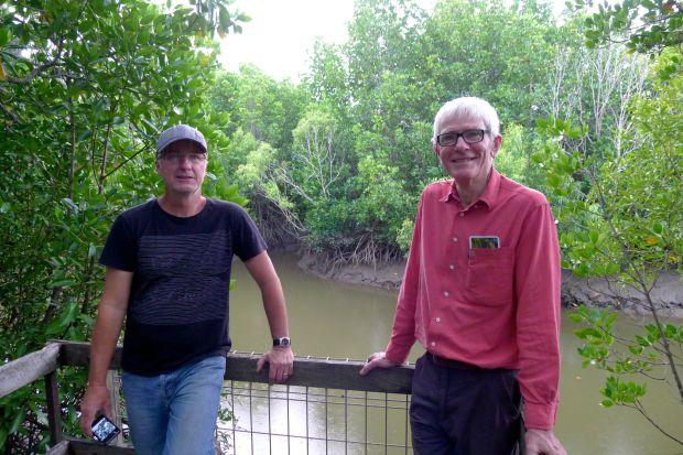 Mick Fanning (vision) & Scott Taylor (sound) of ABC TV amongst mangroves, Cairns