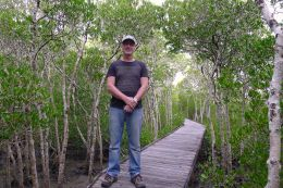Scott Taylor feeling at home amongst the smooth-fruited yellow mangrove, Ceriops australis