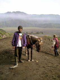 This shot is deep within the Tengger Massif, an enormous extinct volcanic crater. Gunung (Mt) Bromo is to the rear.