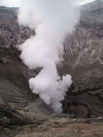 Gunung (Mt) Bromo is constantly erupting. The smell of sulphur is omnipresent...