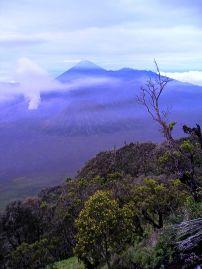 Dawn gradually breaks across the Tengger Semeru National Park. Viewing point, near Cemoro Lawang.
