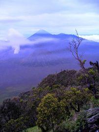 Dawn gradually breaks across the Tengger Semeru National Park. Viewing point, near Cemoro Lawang.