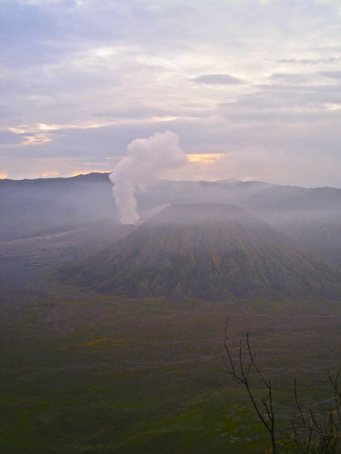 Tengger Semeru National Park as the sun adds colour, and a little warmth.