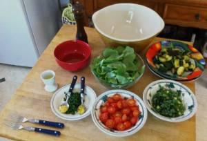 Golden purslane, zucchini and tomato salad (Portulaca oleracea var. sativa)