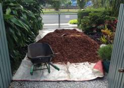 Mulch arrives - to protect the lawn
