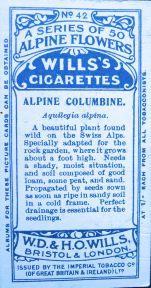 Alpine columbine, Aquilegia alpina, Wills' Alpine Flowers, 1913