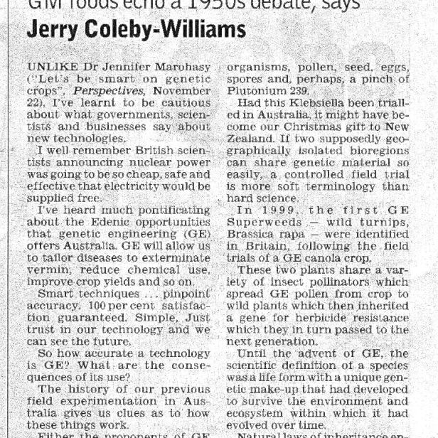 GM Response - 1, Jerry Coleby-Williams, Courier Mail, November 2005