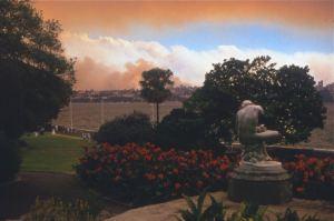 Sydney bushfire sunset 1994
