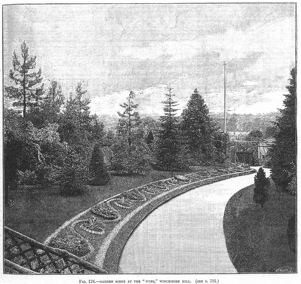 Ribbon gardening, England, 1889