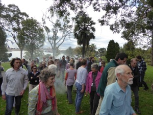 Farewell John Morgan: friends and staff cleansed by smoking ceremony