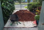 Use of mulch to protect turf from trampling
