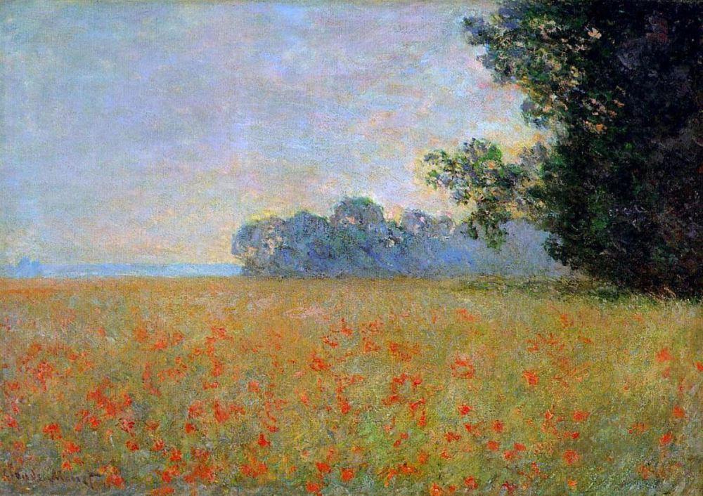 Monet/ oat and poppy field/ meadow garden