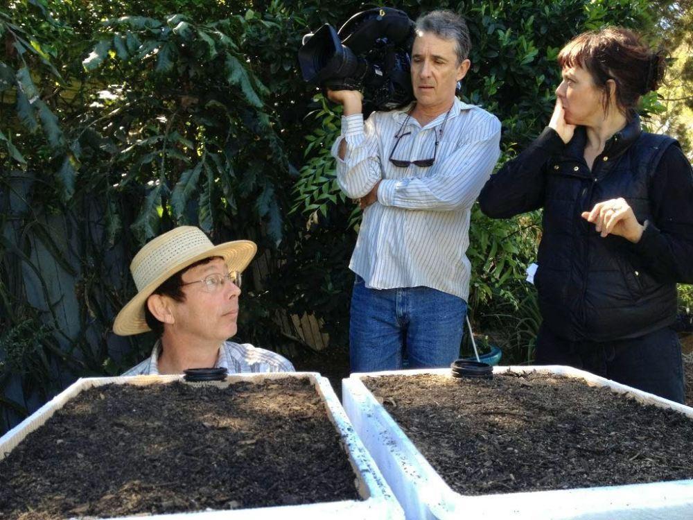 Jerry, Scott Taylor, Brett Ramsey, & Karen Leng filming self-watering pot - 2