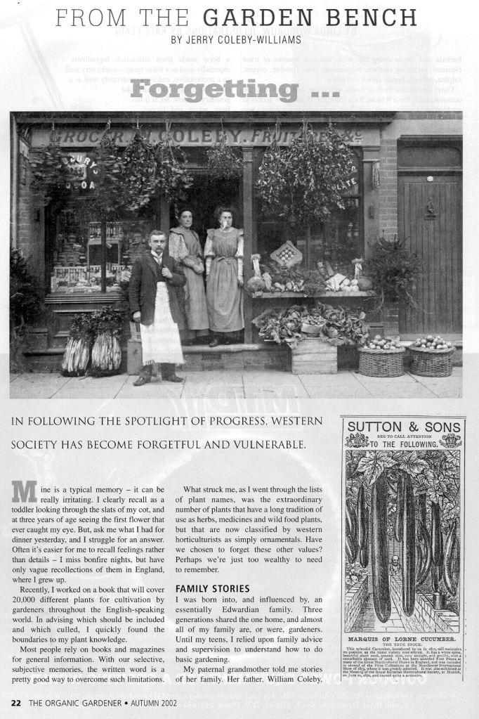 Forgetting article/ The Organic Gardener magazine/ 2005 - 1